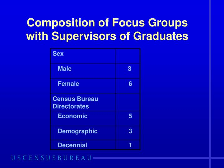 Composition of Focus Groups with Supervisors of Graduates