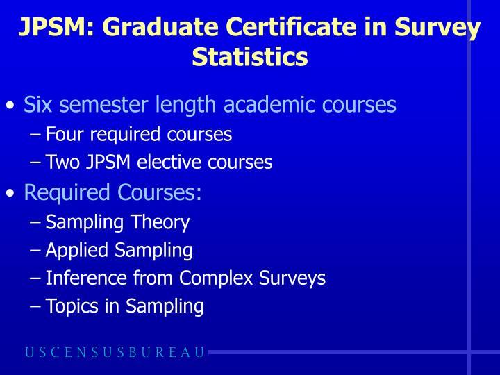 JPSM: Graduate Certificate in Survey Statistics