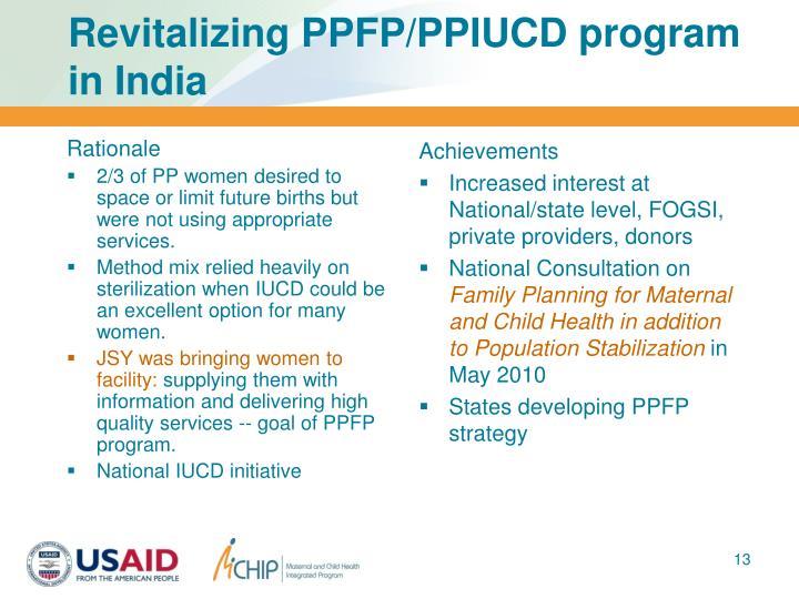 Revitalizing PPFP/PPIUCD program in India