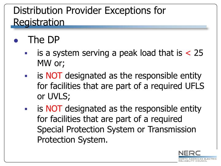 Distribution Provider Exceptions for Registration
