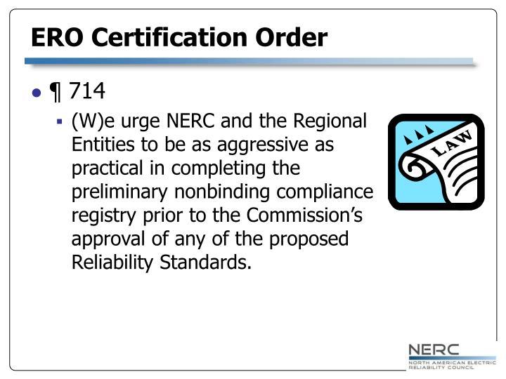 ERO Certification Order