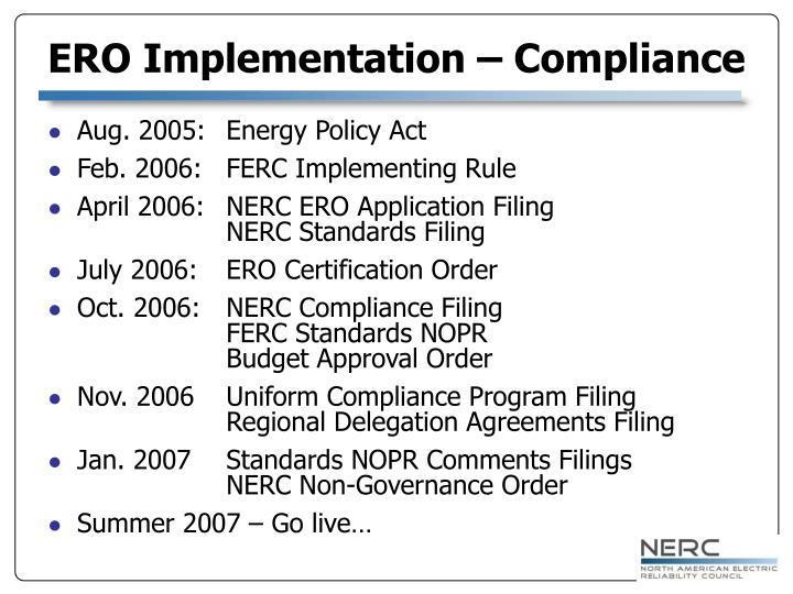 ERO Implementation – Compliance