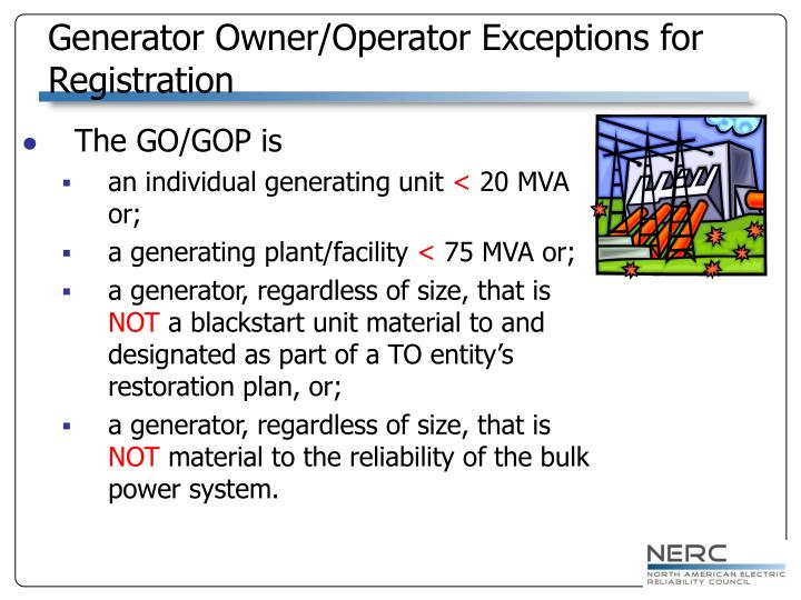 Generator Owner/Operator Exceptions for Registration