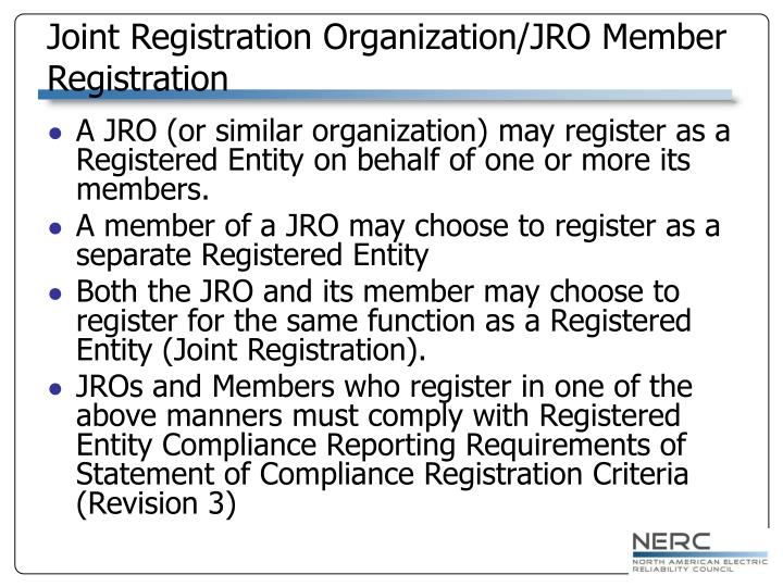Joint Registration Organization/JRO Member Registration