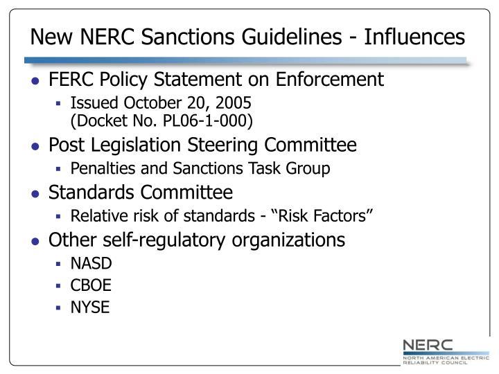 New NERC Sanctions Guidelines - Influences