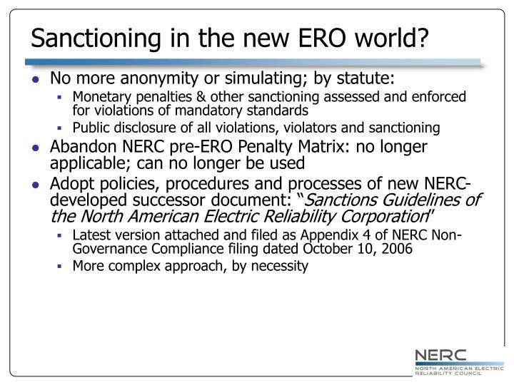 Sanctioning in the new ERO world?