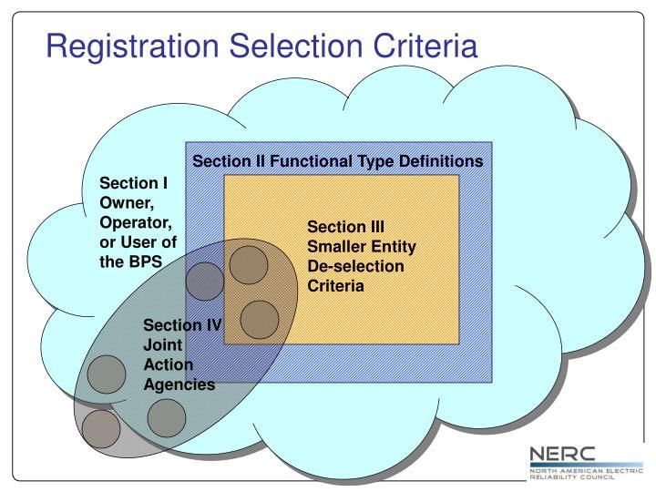 Registration Selection Criteria