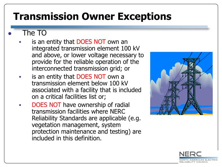 Transmission Owner Exceptions