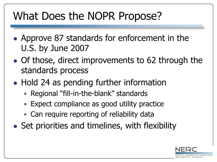 What Does the NOPR Propose?