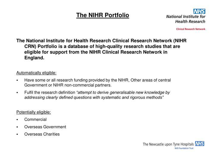 The NIHR Portfolio