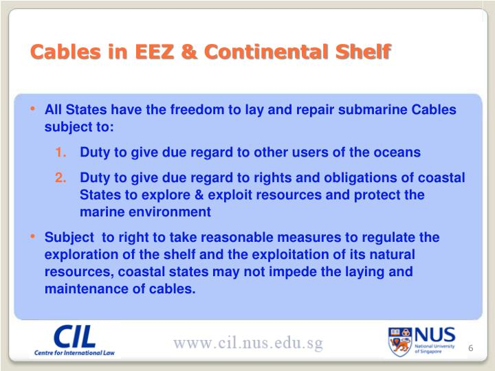 Cables in EEZ & Continental Shelf