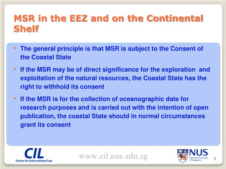 MSR in the EEZ and on the Continental Shelf
