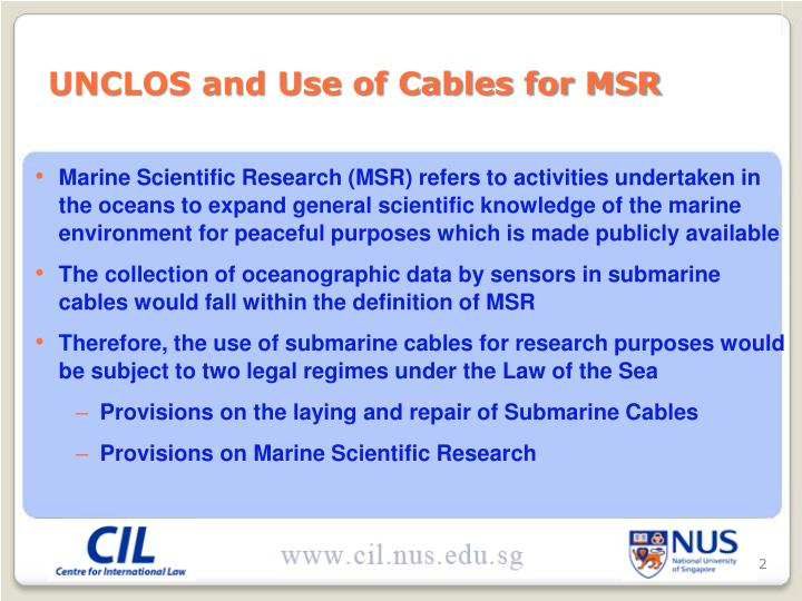 UNCLOS and Use of Cables for MSR