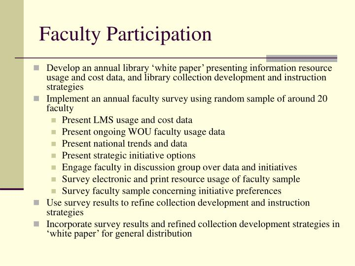 Faculty Participation
