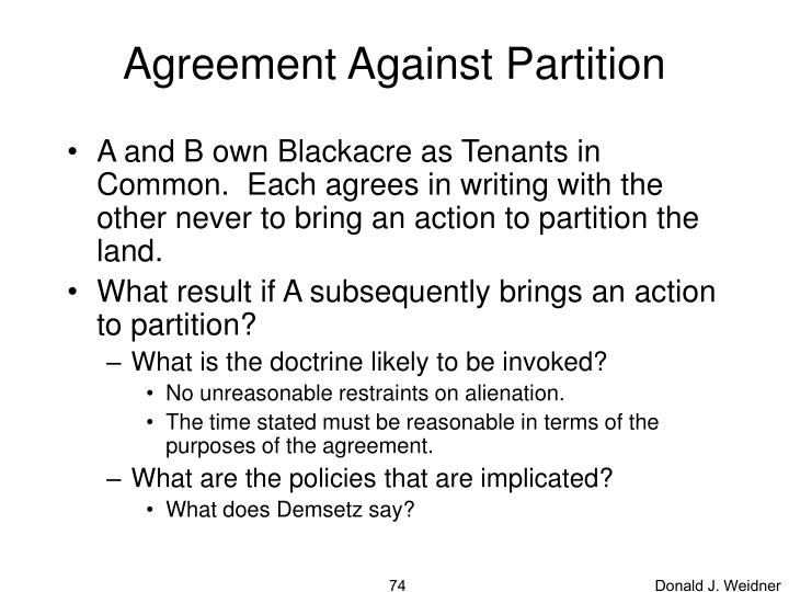 Agreement Against Partition