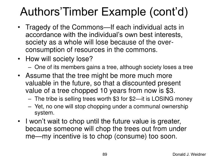 Authors'Timber Example (cont'd)