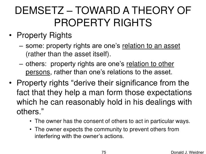DEMSETZ – TOWARD A THEORY OF PROPERTY RIGHTS