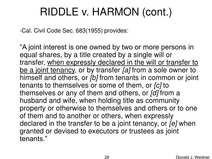 RIDDLE v. HARMON (cont.)