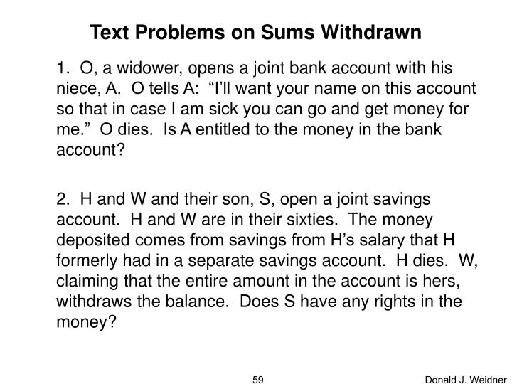 Text Problems on Sums Withdrawn