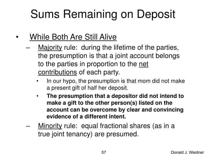 Sums Remaining on Deposit