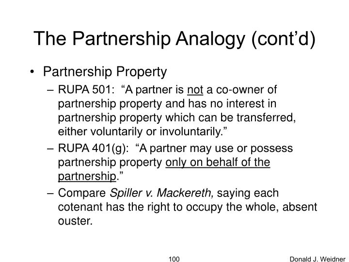 The Partnership Analogy (cont'd)