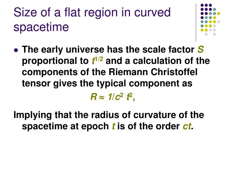 Size of a flat region in curved spacetime