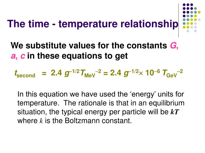 The time - temperature relationship