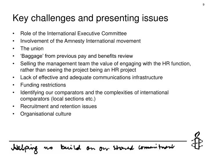 Key challenges and presenting issues