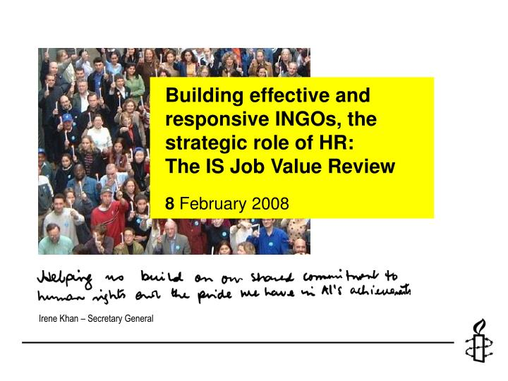 Building effective and responsive INGOs, the strategic role of HR: