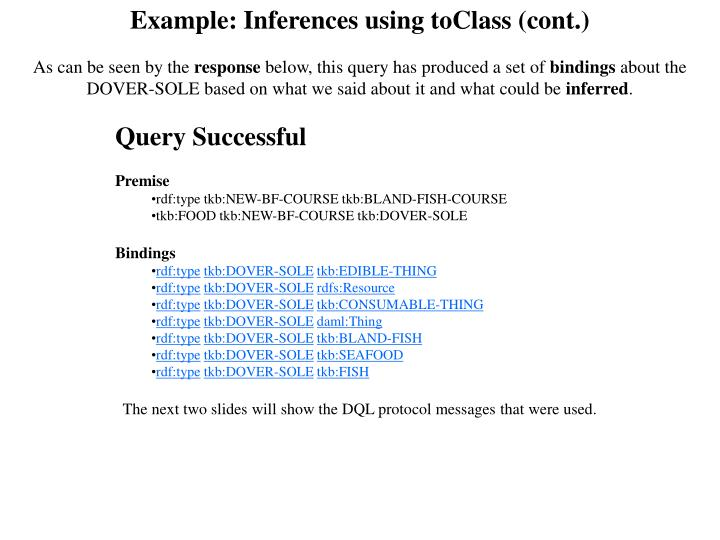 Example: Inferences using toClass (cont.)