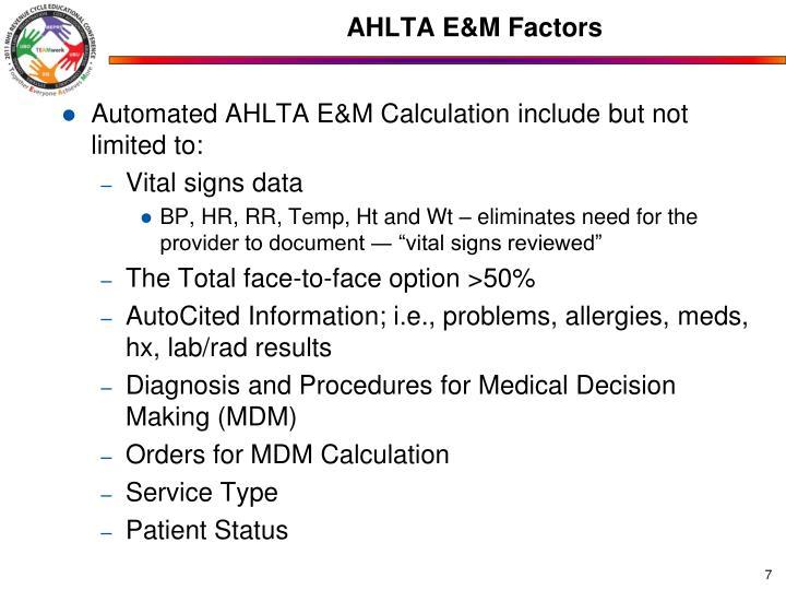 AHLTA E&M Factors