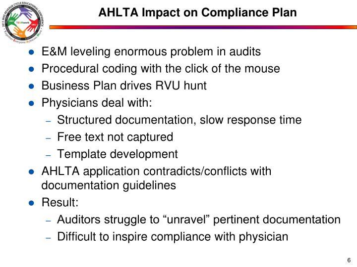 AHLTA Impact on Compliance Plan