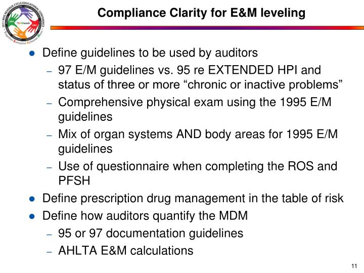 Compliance Clarity for E&M leveling