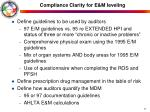 compliance clarity for e m leveling3