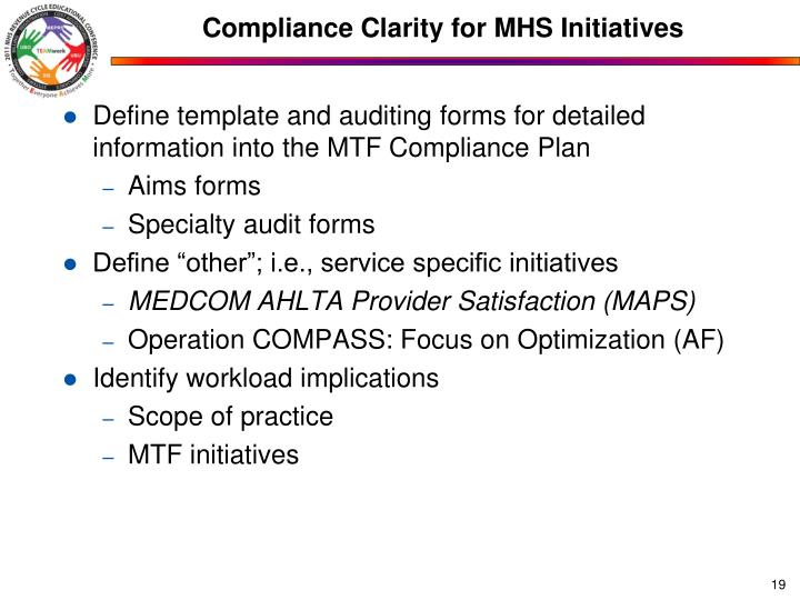 Compliance Clarity for MHS Initiatives