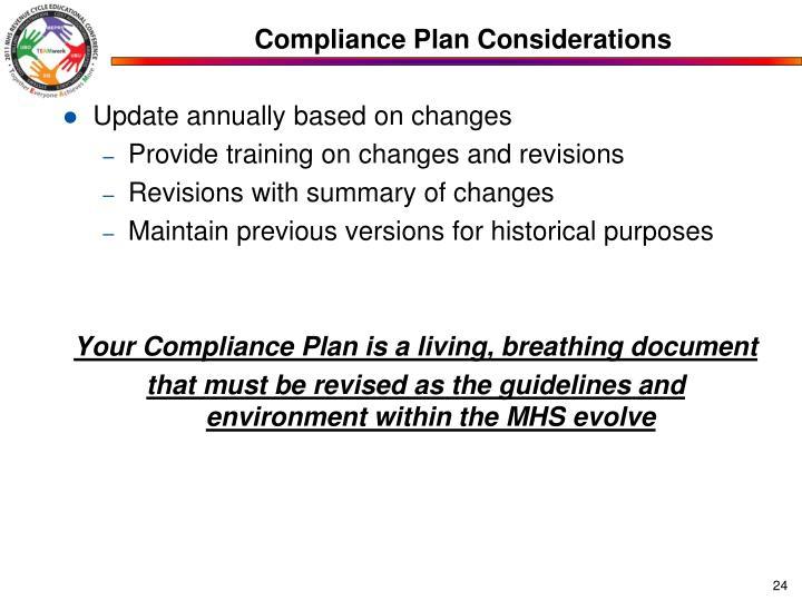 Compliance Plan Considerations