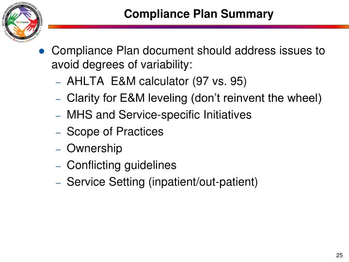 Compliance Plan Summary
