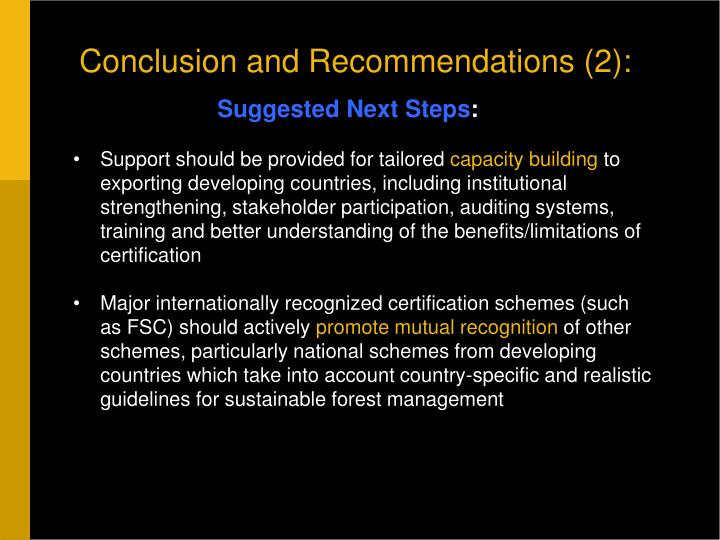 Conclusion and Recommendations (2):