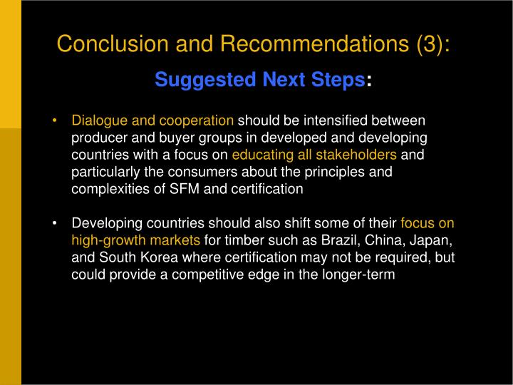 Conclusion and Recommendations (3):