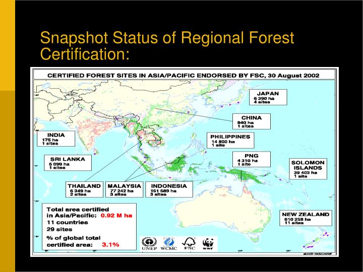 Snapshot Status of Regional Forest Certification: