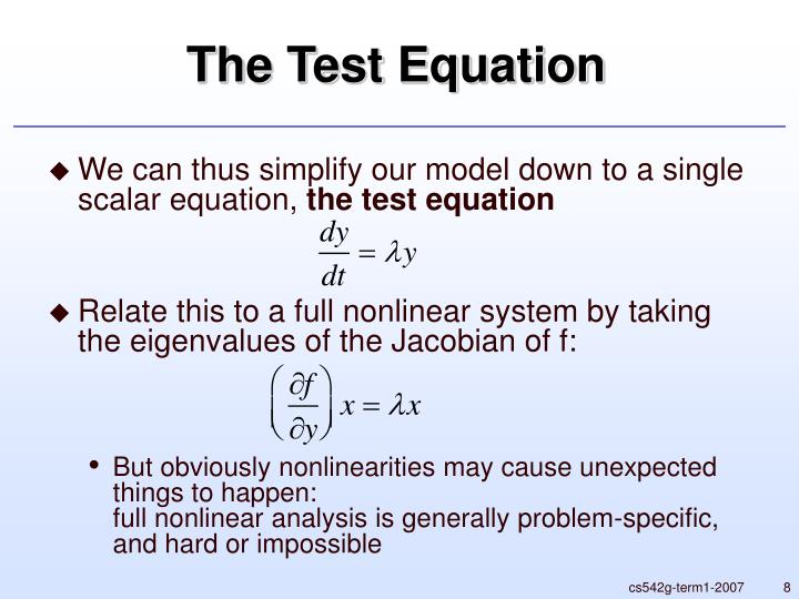 The Test Equation