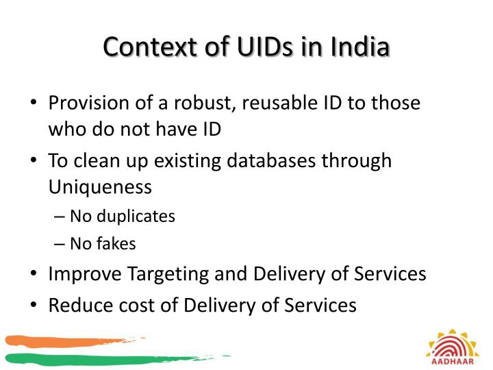 Context of UIDs in India