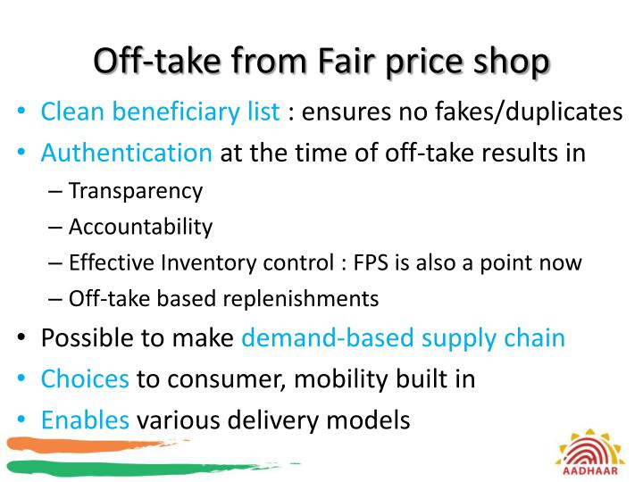 Off-take from Fair price shop