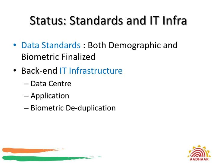 Status: Standards and IT Infra
