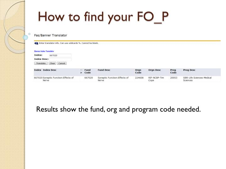 How to find your FO_P