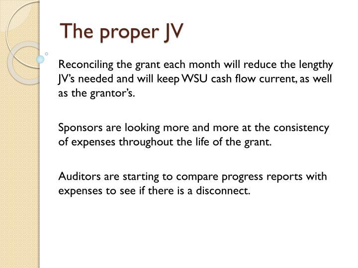The proper JV