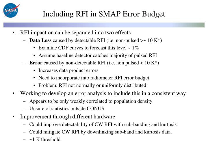Including RFI in SMAP Error Budget