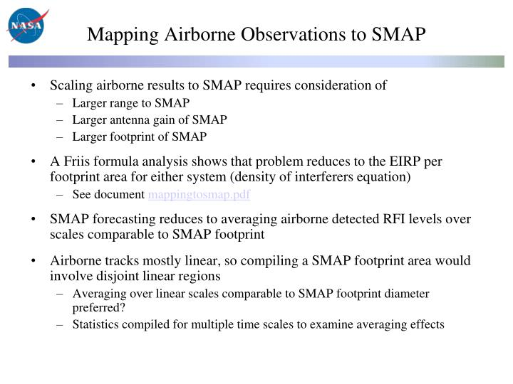 Mapping Airborne Observations to SMAP