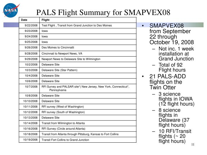 PALS Flight Summary for SMAPVEX08