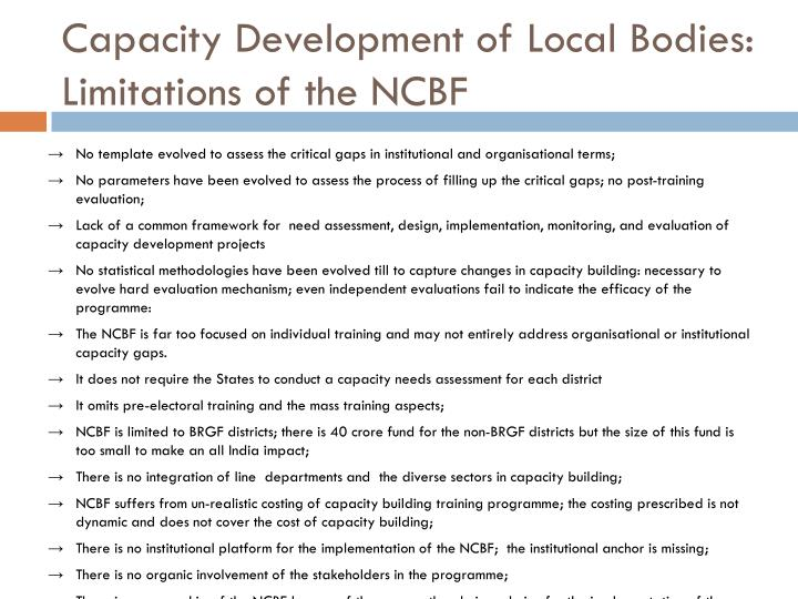 Capacity Development of Local Bodies: Limitations of the NCBF